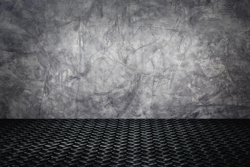 Grunge concrete wall with dark metal texture background. stock images