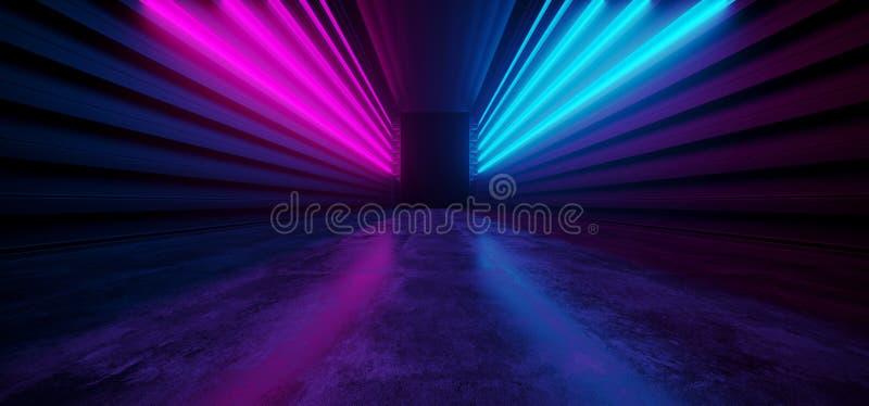 Grunge concreto de incandescência de néon da entrada enorme escura cor-de-rosa azul futurista vibrante do corredor da realidade v ilustração do vetor