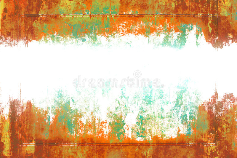 Grunge With Copyspace. Old aged rustic distressed grunge in orange, green, and brown tones with white copyspace royalty free illustration