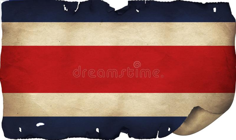 Grunge Costa Rica Flag On Old Paper. A grunge Costa Rica flag on old torn paper royalty free stock image
