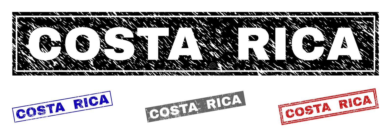 Grunge COSTA RICA Textured Rectangle Stamp Seals royaltyfri illustrationer