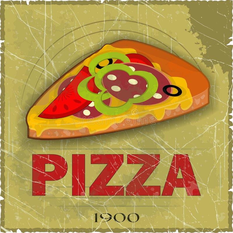 Grunge Cover for Pizza Menu stock illustration
