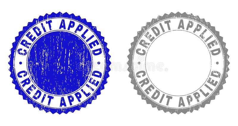 Grunge CREDIT APPLIED Scratched Stamps royalty free illustration