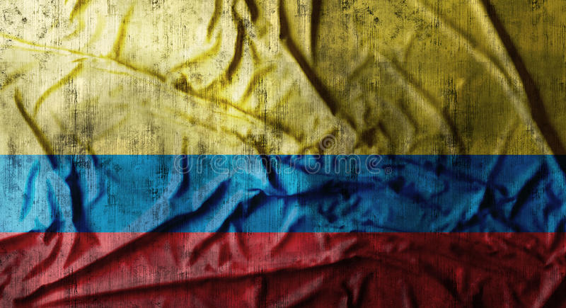 Grunge crumpled Colombia flag. 3d rendering. Grunge crumpled Colombia flag background with dirt. 3d rendering stock photo