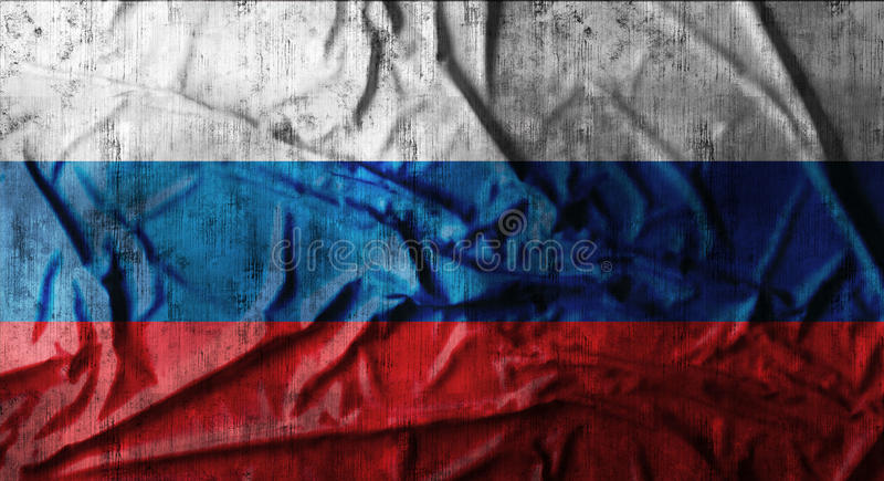 Grunge crumpled russian flag. 3d rendering stock image