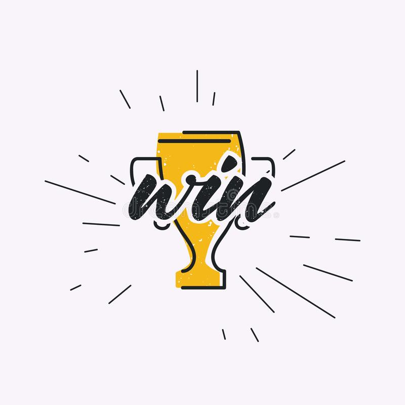 Grunge cup prize to winner sport competition stock illustration