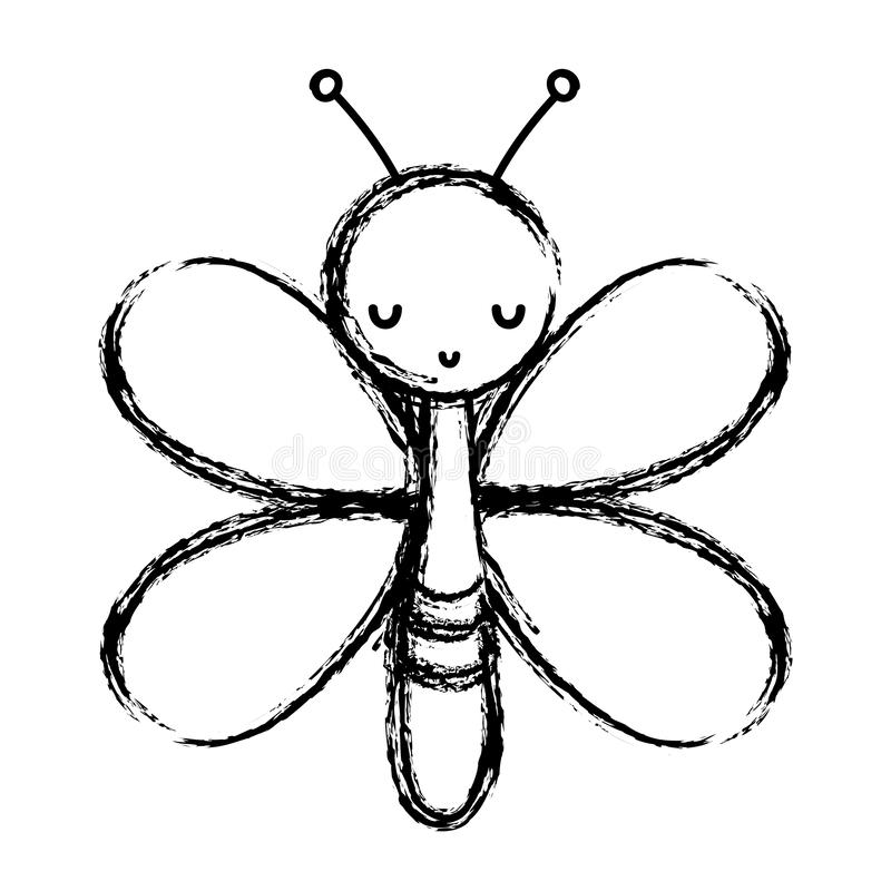 Grunge cute butterfly insect animal with wings. Vector illustration royalty free illustration