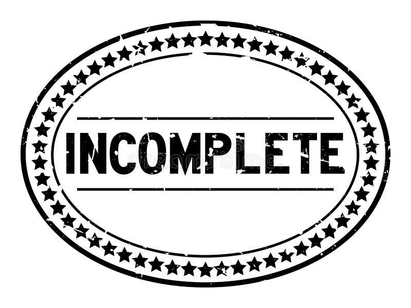 Grunge czarnego niezupełnego słowa owalna pieczątka na białym tle ilustracji