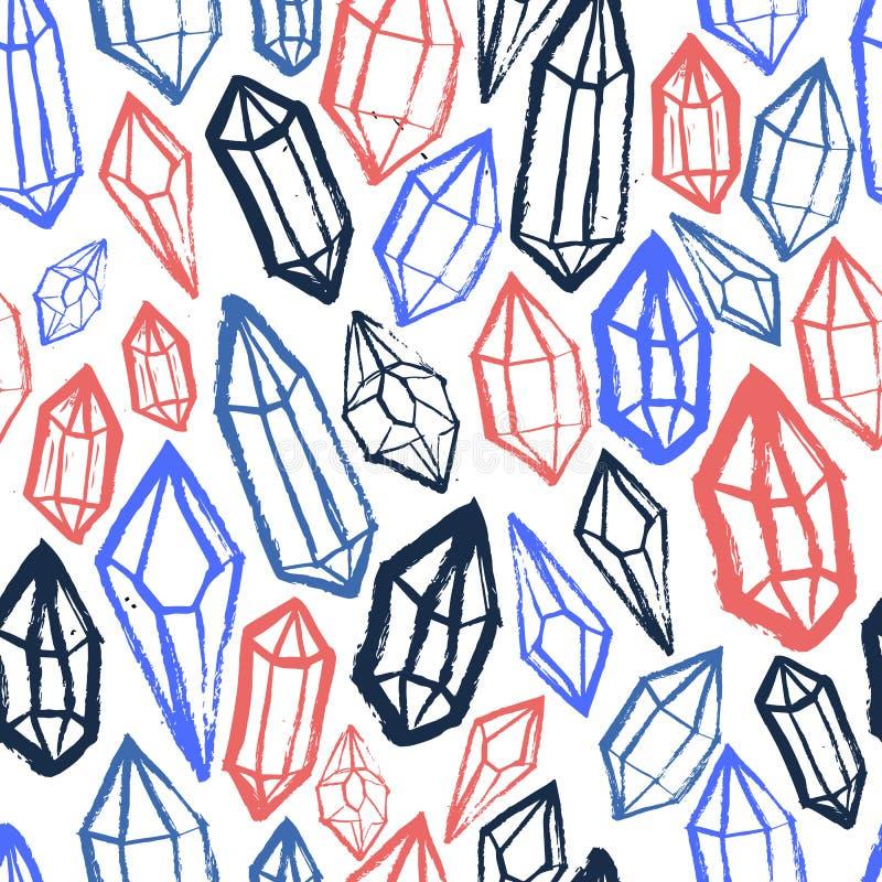 Grunge Czarnych diamentów bezszwowy tło Geometryczny wzór z ręka rysującymi minimalnymi klejnotami ilustracja wektor