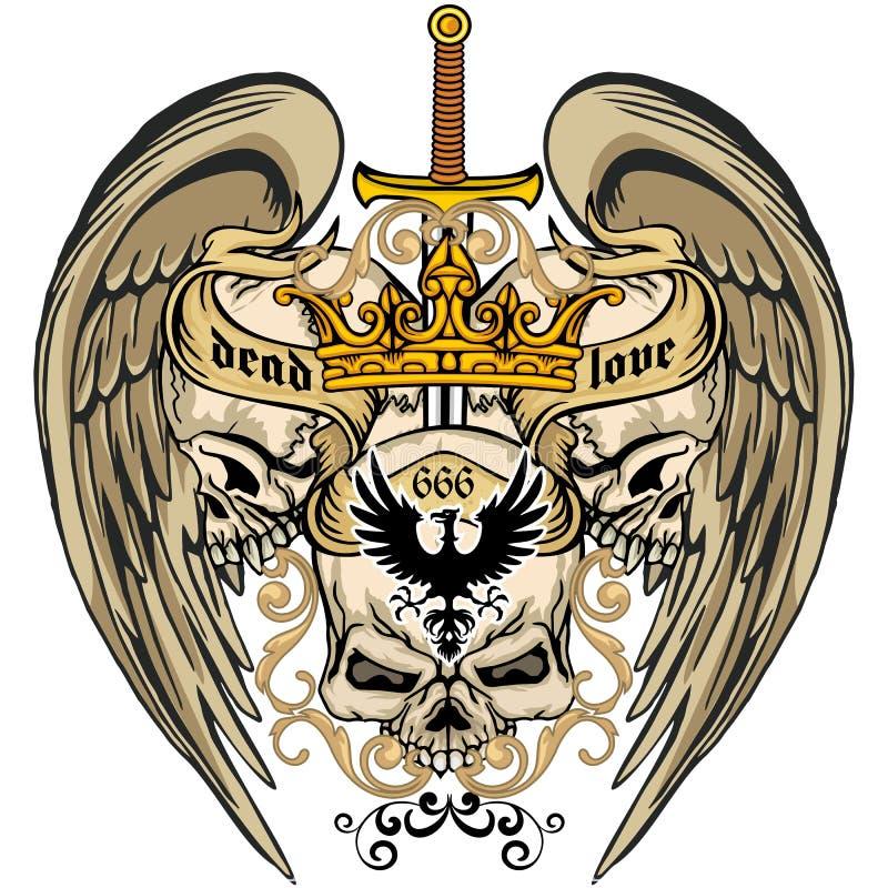 grunge czaszki żakiet ręki ilustracja wektor
