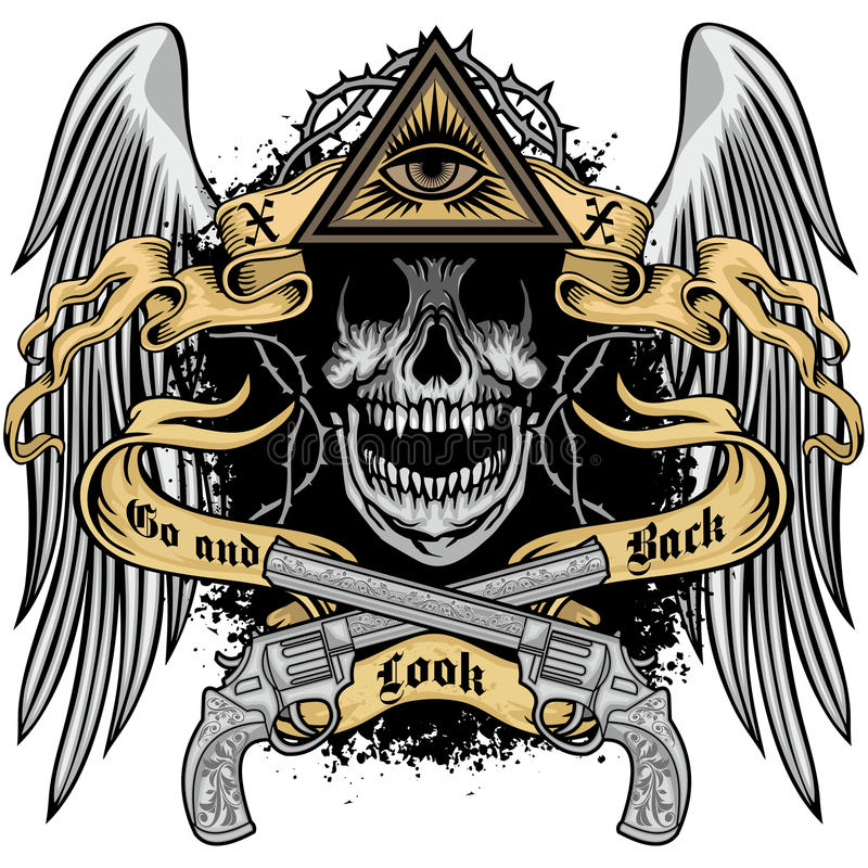 grunge czaszki żakiet ręki ilustracji