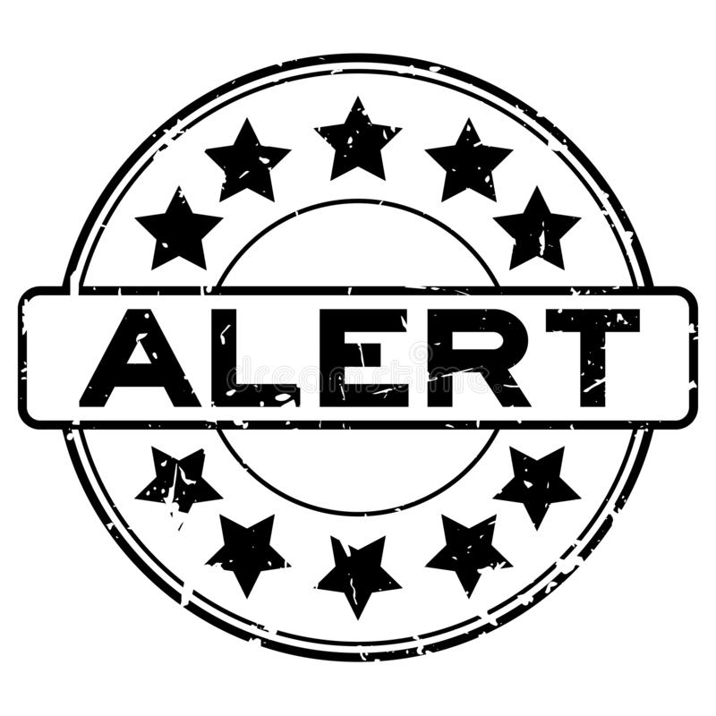 Grunge czerni ostrzeżenia słowo z gwiazdowego ikony round foki gumowym znaczkiem na białym tle royalty ilustracja