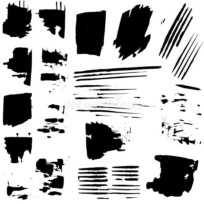 Grunge czerni ręki rysujący splatters i plamy R?ki maluj?cy mu?ni?? uderzenia obrazy royalty free