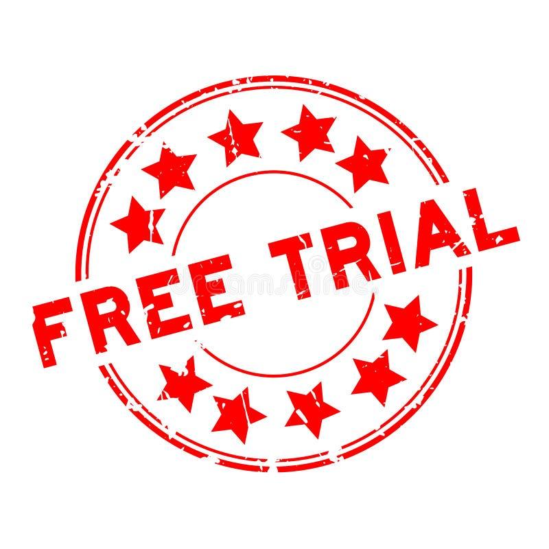 Grunge czerwieni bezpłatnej próby słowo z gwiazdowego ikony round foki gumowym znaczkiem na białym tle ilustracji