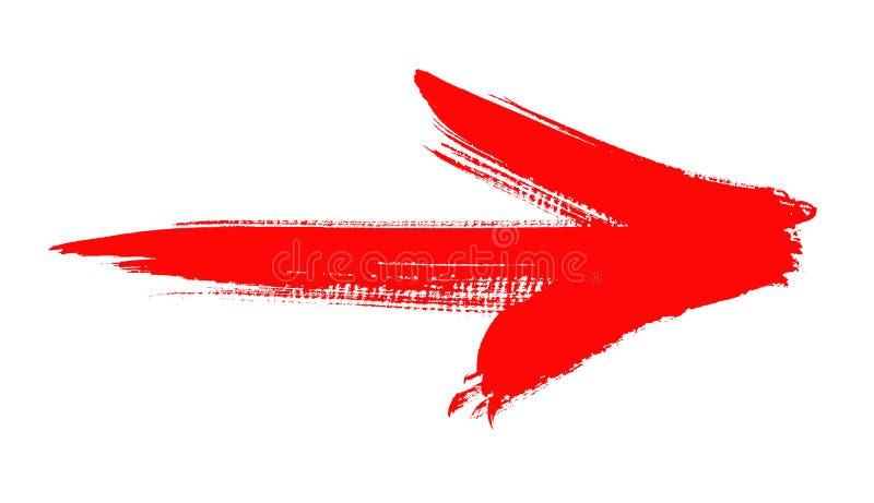 Grunge czerwona strzała royalty ilustracja