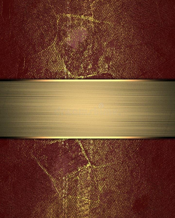 Grunge czerwona tekstura z złocistym nameplate Szablon dla projekta odbitkowa przestrzeń dla reklamy broszurki lub zawiadomienia  royalty ilustracja