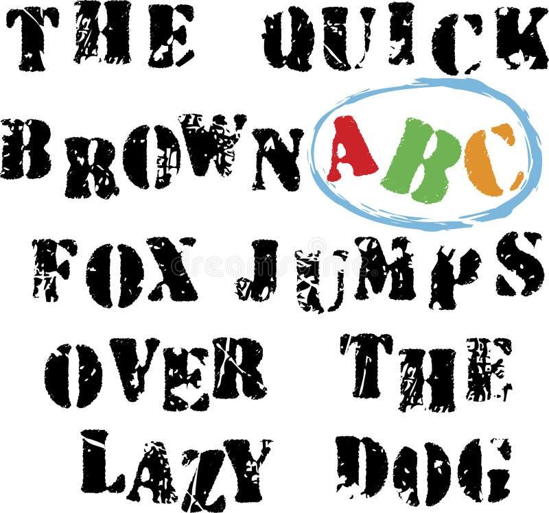 grunge d'alphabet illustration libre de droits