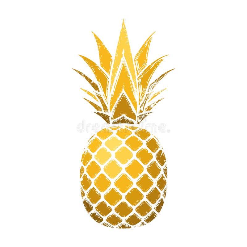 Grunge d'ananas avec la feuille Fond blanc d'isolement par fruit exotique tropical d'or Symbole d'aliment biologique, été illustration libre de droits