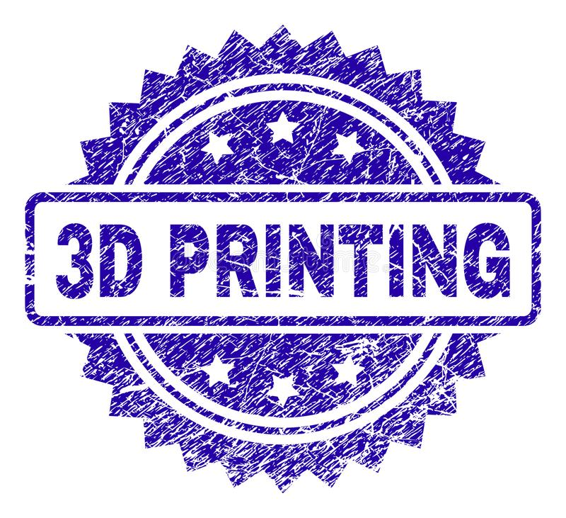 Grunge 3D druku znaczka foka ilustracja wektor