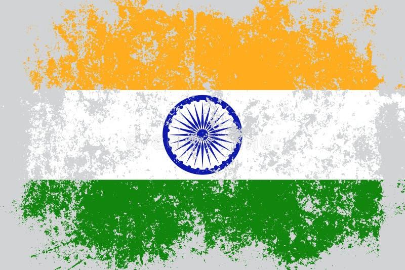 Grunge d'Inde, vieux, rayé drapeau de style illustration de vecteur