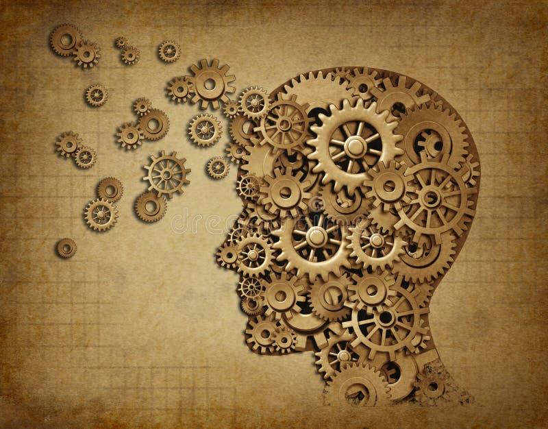 Grunge da função do cérebro humano com engrenagens