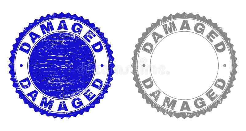 Grunge DAMAGED Textured Stamps vector illustration