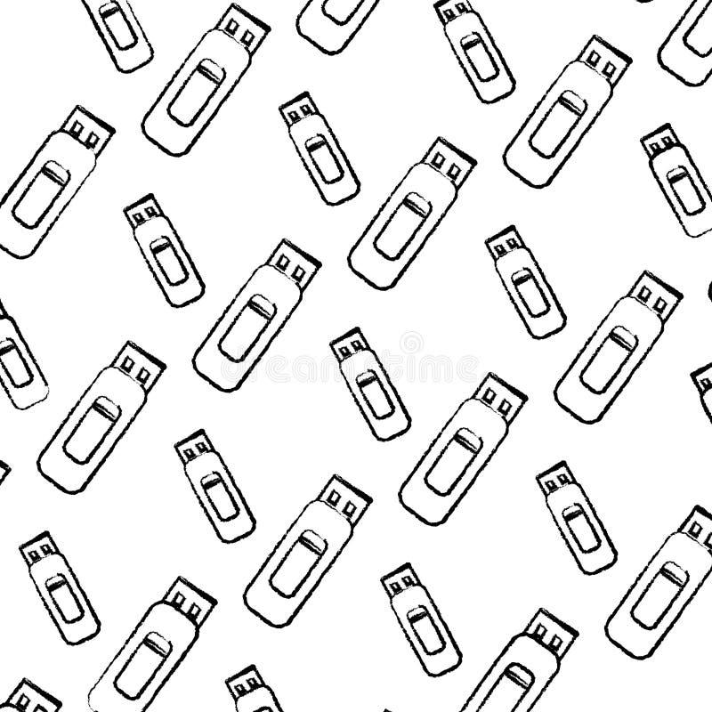 Grunge dane usb pamięci technologii tło ilustracja wektor
