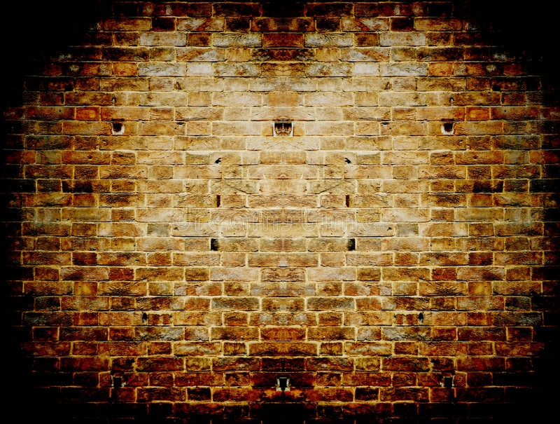 Grunge dark red concrete wall in a brick frame con royalty free stock photos