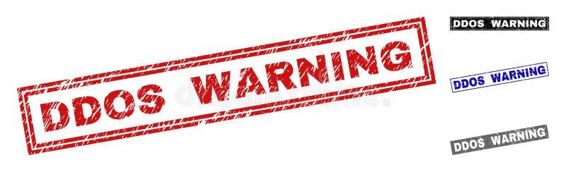 Grunge DDOS que ADVERTE selos riscados do selo do retângulo ilustração do vetor