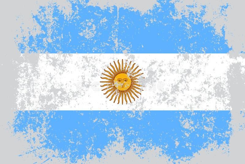 Grunge de Argentina, bandeira velha, riscada do estilo ilustração do vetor