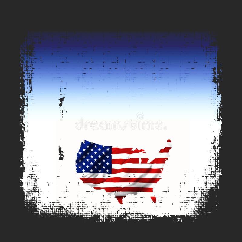 Grunge de carte d'indicateur américain illustration stock