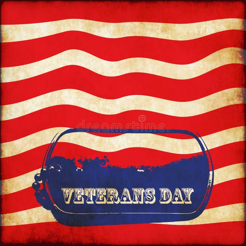 Grunge de dogtag de drapeau américain de bannière de jour de vétérans illustration stock