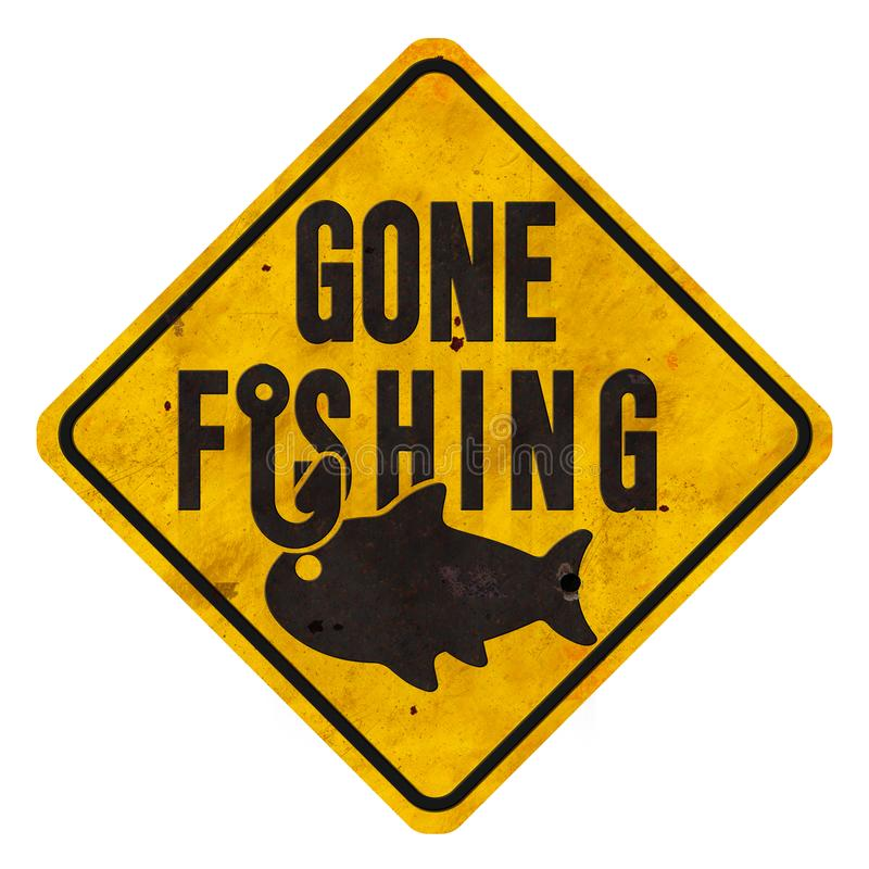 Grunge de pesca ido do sinal com estilo do sinal de rua do metal do gancho e dos peixes imagem de stock royalty free