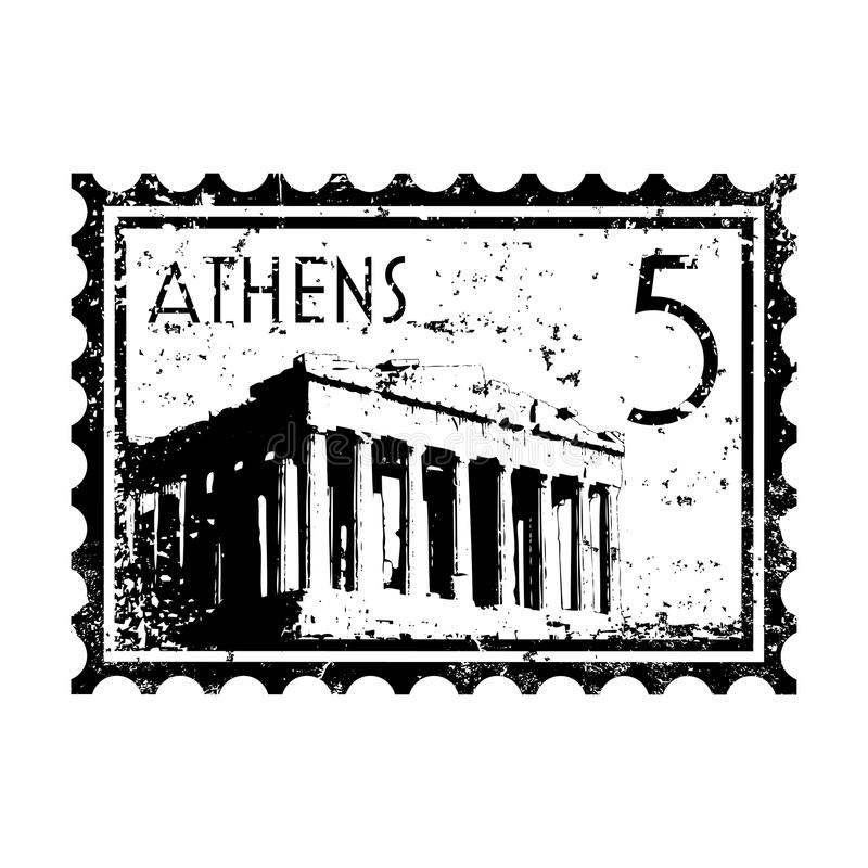 Grunge de type d'estampille ou de cachet de la poste d'Athènes illustration libre de droits