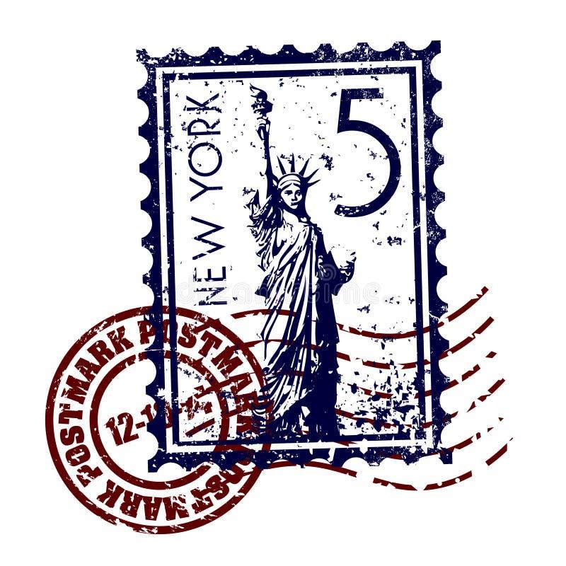 Grunge de type d'estampille ou de cachet de la poste de New York illustration libre de droits