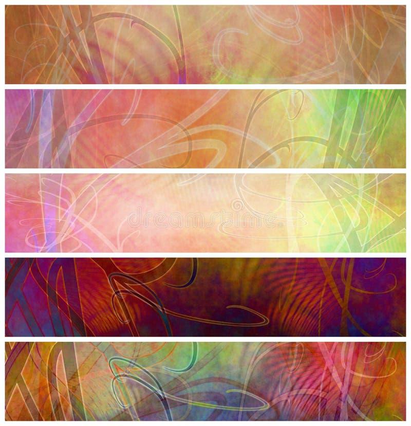 Grunge Decorative Retro Psychedelic Headers stock illustration