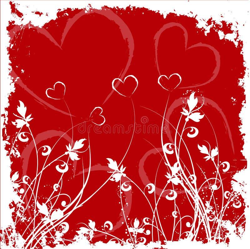 Grunge dei biglietti di S. Valentino illustrazione di stock