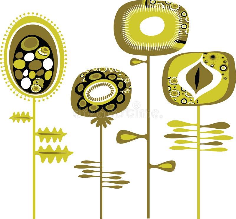 Grunge dekorative Blumen lizenzfreie abbildung