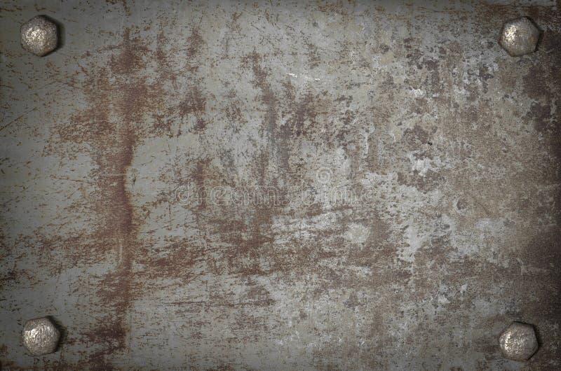 Grunge del arte plateado de metal con los tornillos imágenes de archivo libres de regalías