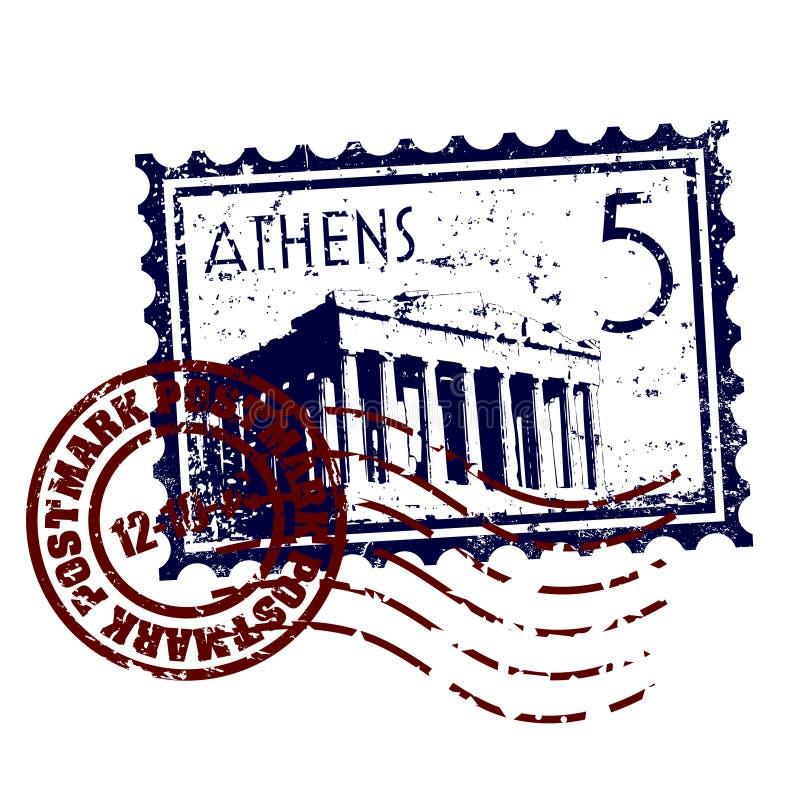 Grunge del estilo del sello o de los matasellos de Atenas ilustración del vector