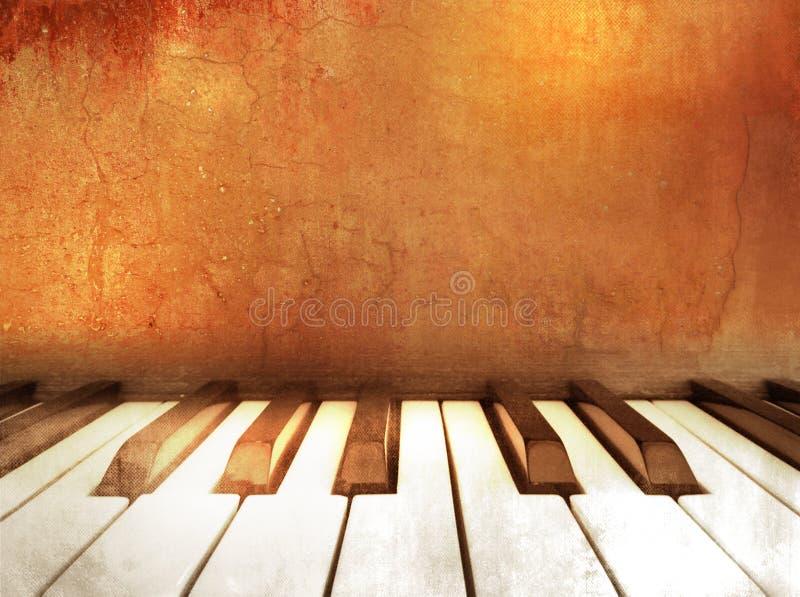 Grunge del fondo de la música - llaves del piano ilustración del vector