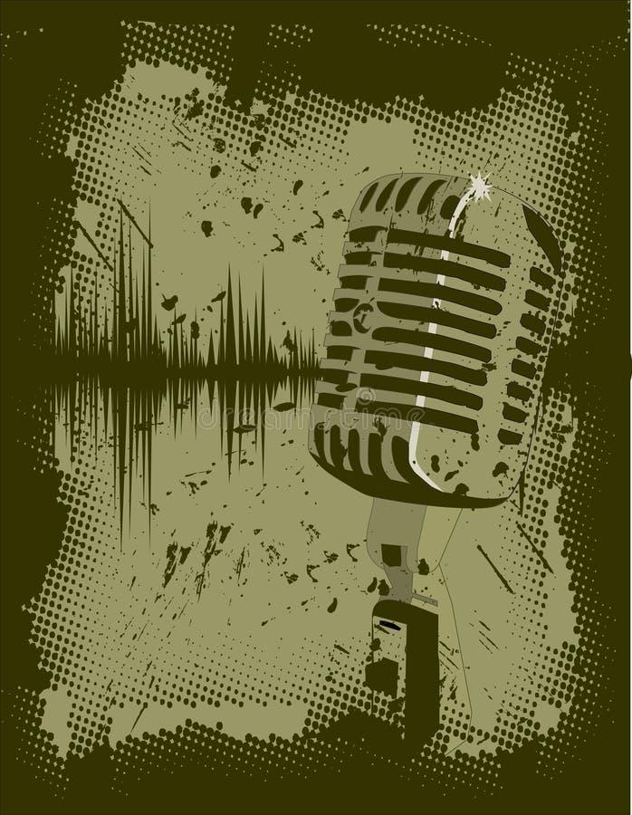 Grunge del microfono illustrazione di stock