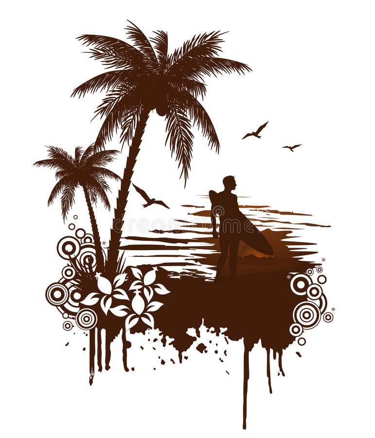Grunge della spuma con il surfista royalty illustrazione gratis