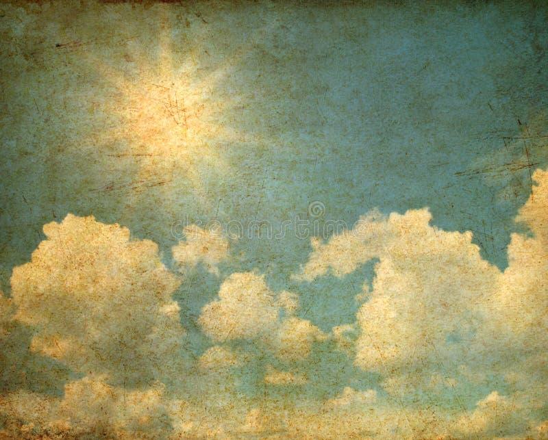 Grunge des Himmels mit Wolken und Sonne stockbilder