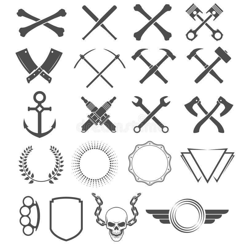 Grunge design elements. Tools, shapes, signs and symbols royalty free illustration