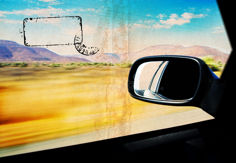Grunge dessert in the car's windiow stock photos