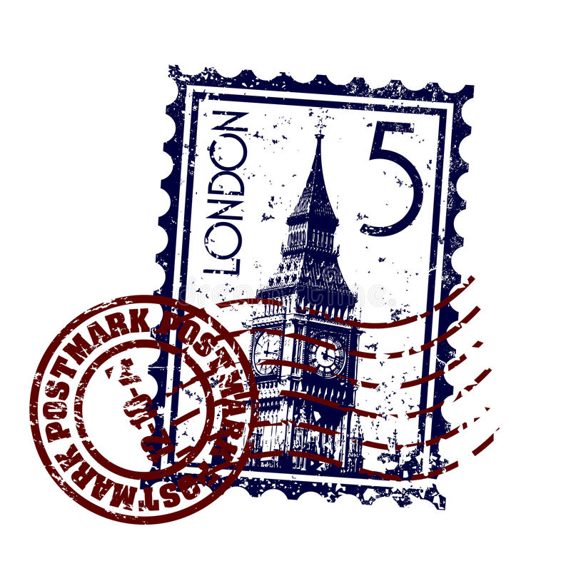 Grunge di stile del bollo o del timbro postale di Londra illustrazione vettoriale