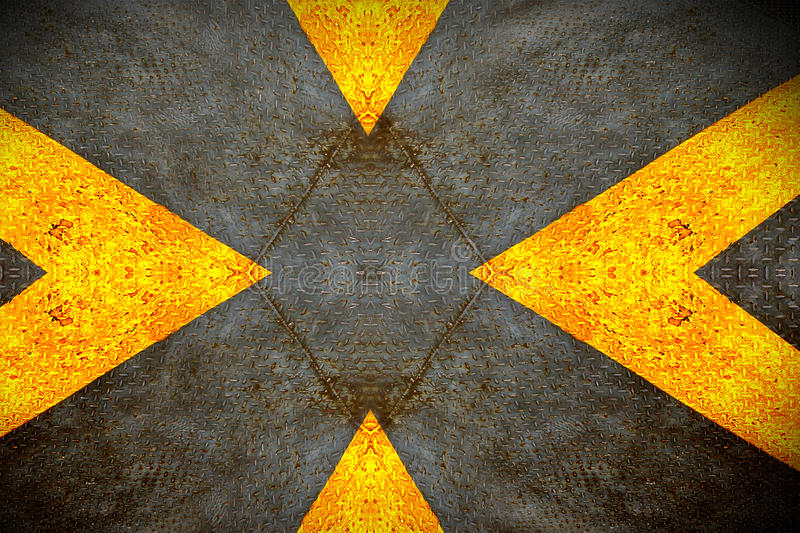 Grunge diamond metal plate with yellow sign. Background royalty free stock image