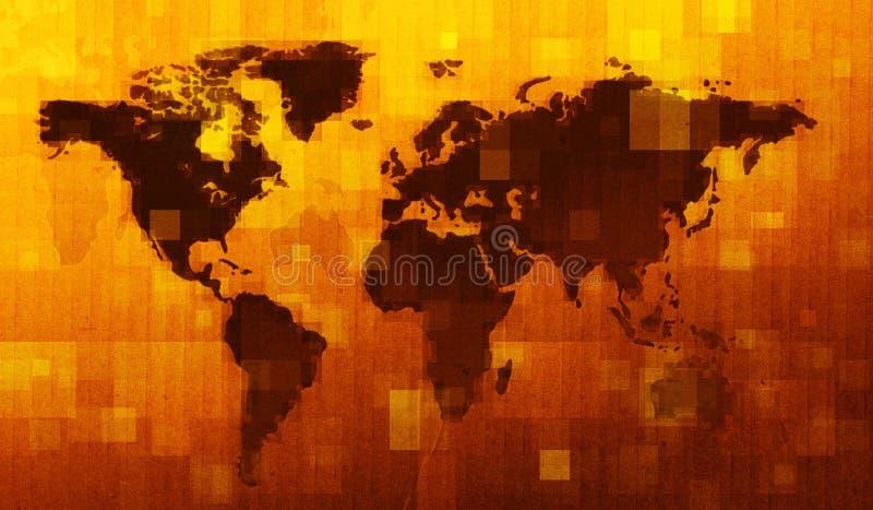 Grunge Digital World Map Stock Photos
