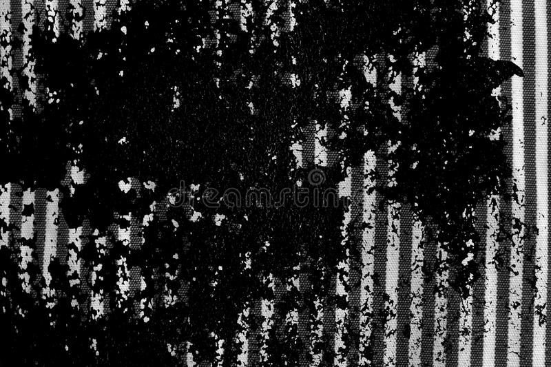 Grunge dirty Black and white closeup of stripped fabric texture stock images